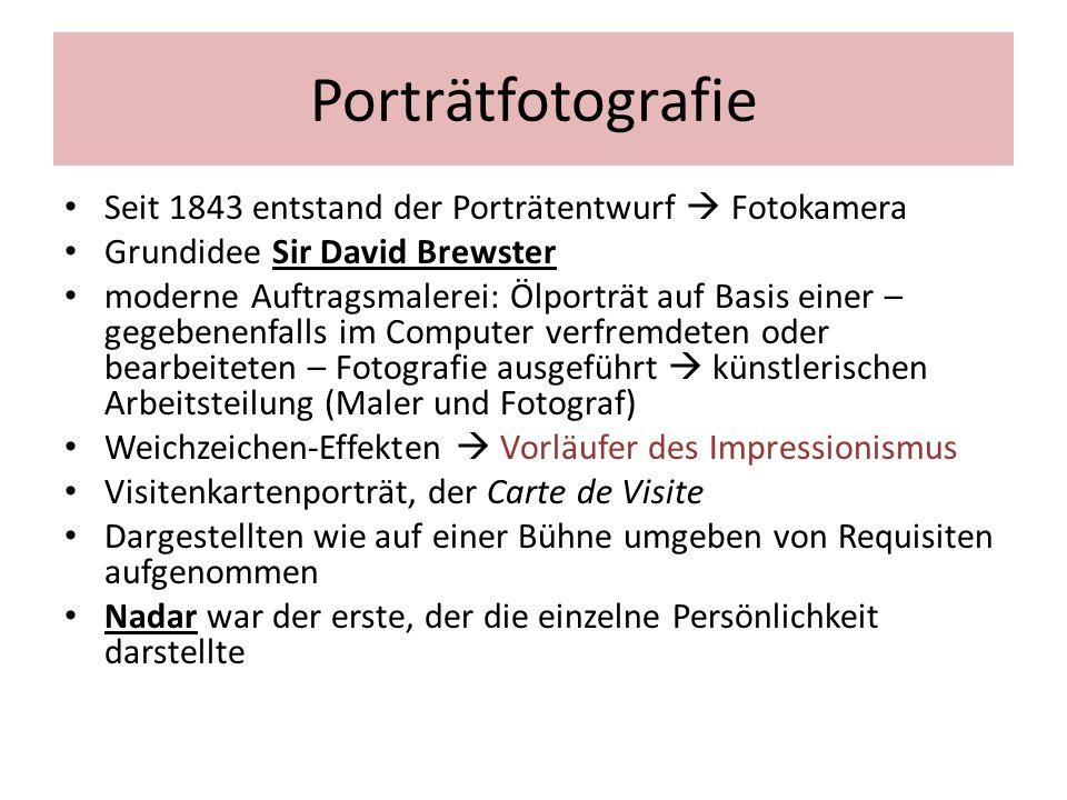 Porträtfotografie Seit 1843 entstand der Porträtentwurf  Fotokamera