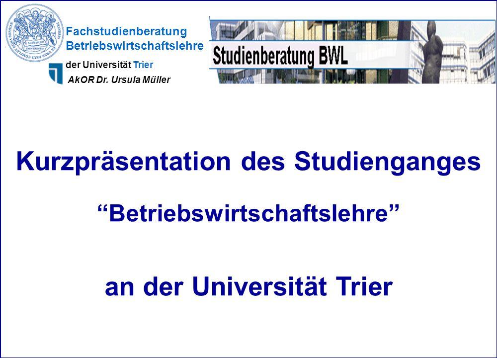 Kurzpräsentation des Studienganges an der Universität Trier