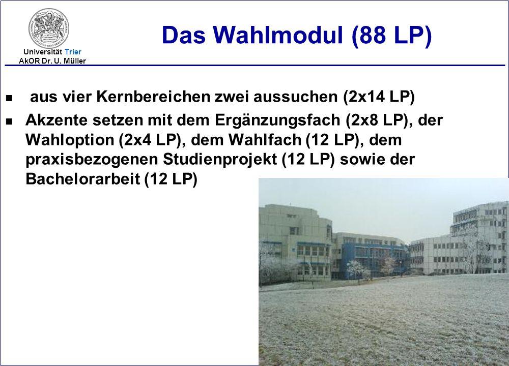 Das Wahlmodul (88 LP) aus vier Kernbereichen zwei aussuchen (2x14 LP)