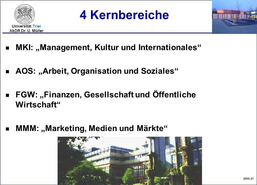 "4 Kernbereiche MKI: ""Management, Kultur und Internationales"