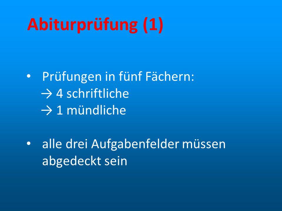 Abiturprüfung (1) Prüfungen in fünf Fächern: → 4 schriftliche