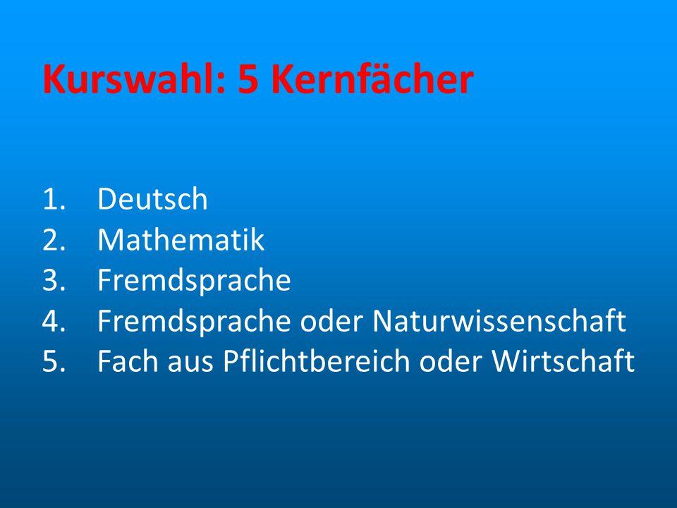 Kurswahl: 5 Kernfächer Deutsch Mathematik Fremdsprache