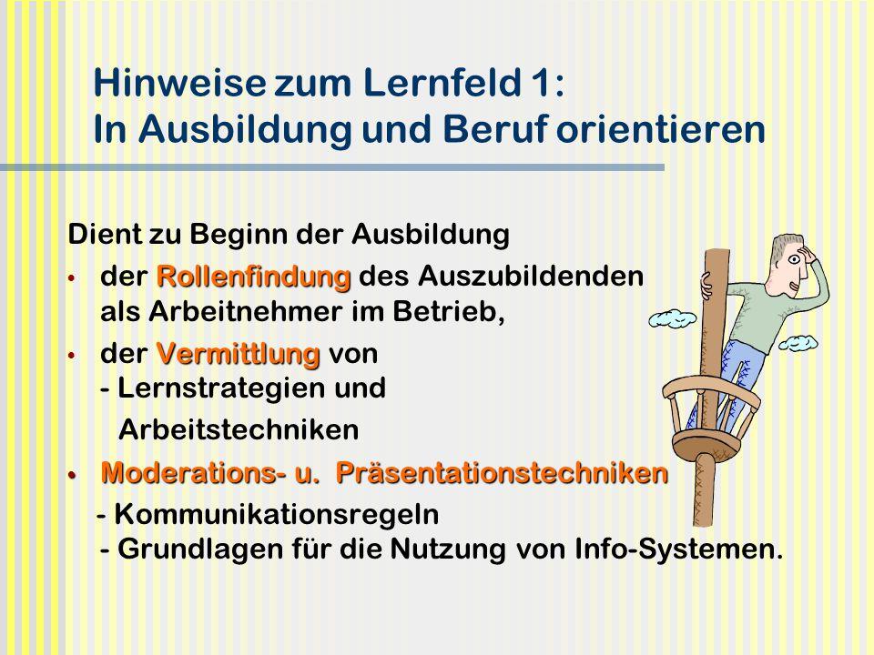 Hinweise zum Lernfeld 1: In Ausbildung und Beruf orientieren