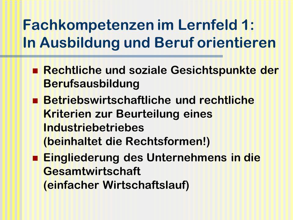 Fachkompetenzen im Lernfeld 1: In Ausbildung und Beruf orientieren