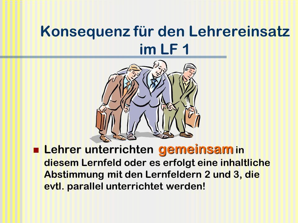 Konsequenz für den Lehrereinsatz im LF 1