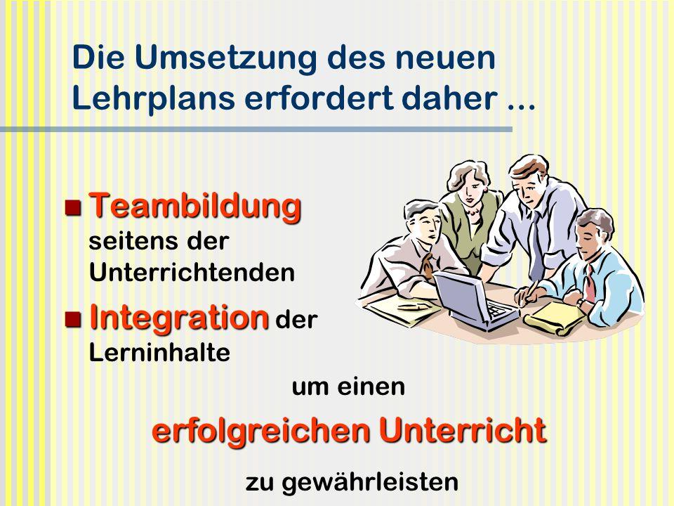 Die Umsetzung des neuen Lehrplans erfordert daher ...