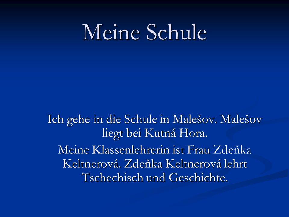 Ich gehe in die Schule in Malešov. Malešov liegt bei Kutná Hora.