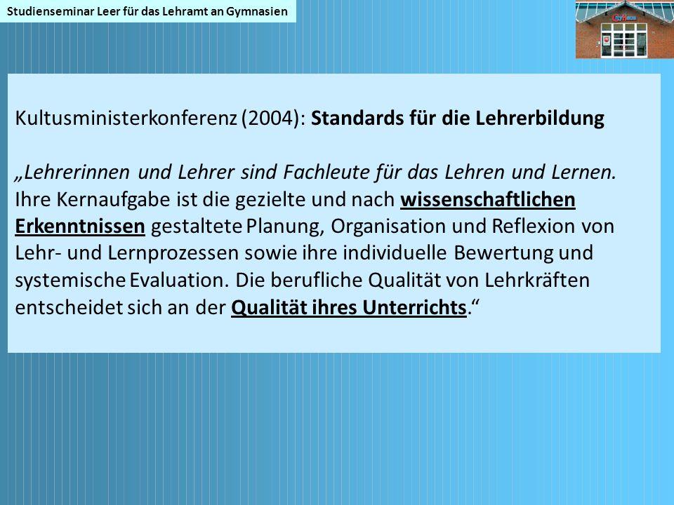 Kultusministerkonferenz (2004): Standards für die Lehrerbildung
