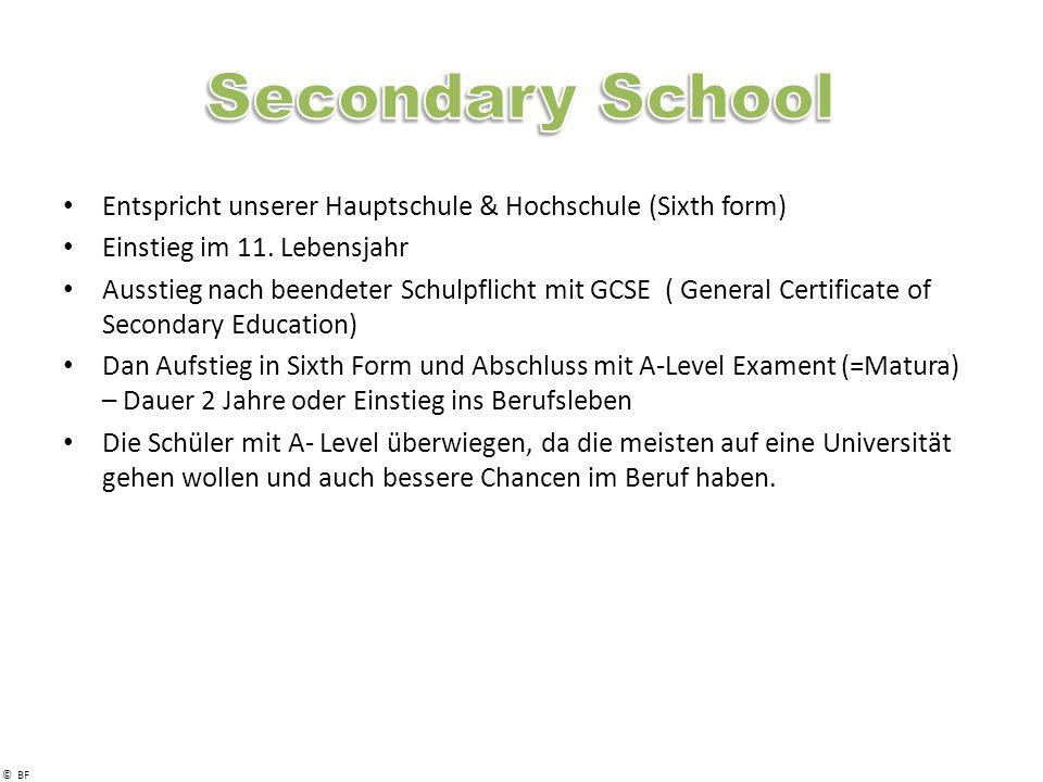 Secondary School Entspricht unserer Hauptschule & Hochschule (Sixth form) Einstieg im 11. Lebensjahr.