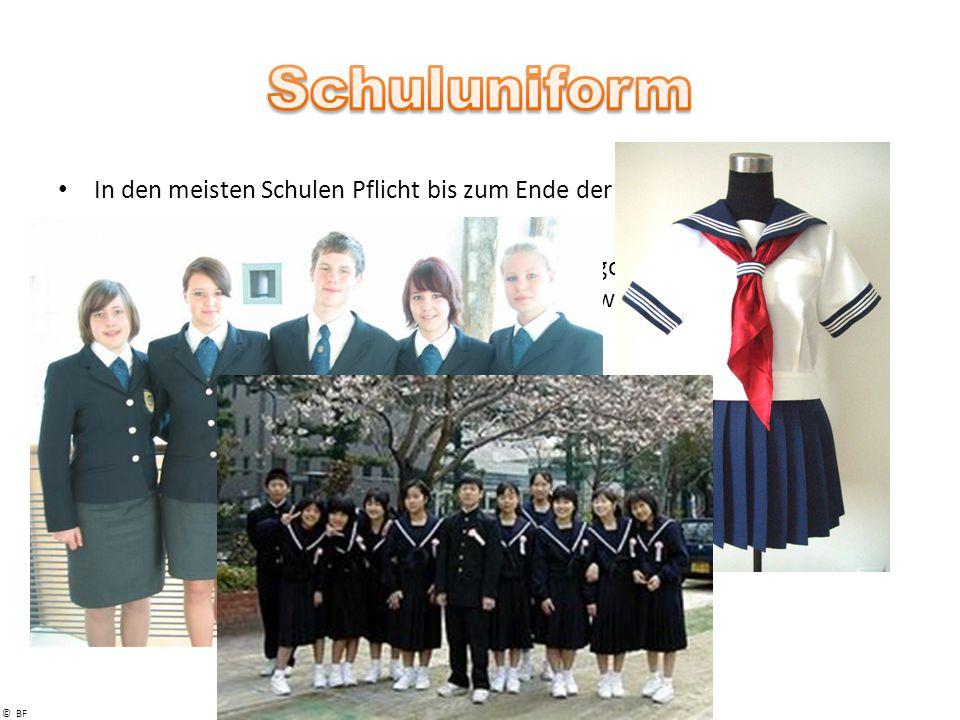 Schuluniform In den meisten Schulen Pflicht bis zum Ende der Schulpflicht. Sixth Form meist kene Uniformpflicht.