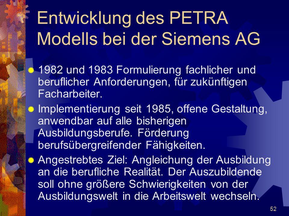 Entwicklung des PETRA Modells bei der Siemens AG