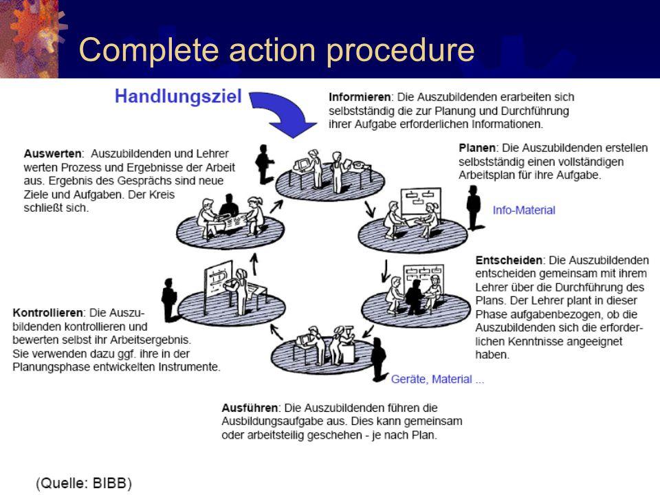 Complete action procedure