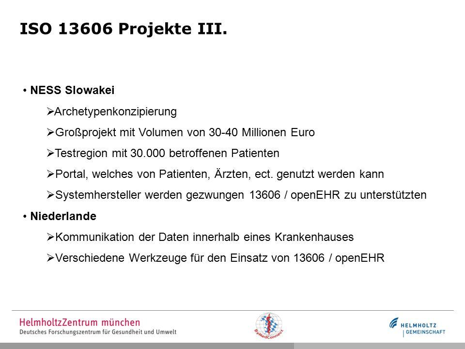 ISO 13606 Projekte III. NESS Slowakei Archetypenkonzipierung