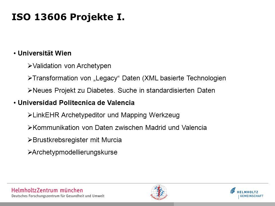 ISO 13606 Projekte I. Universität Wien Validation von Archetypen
