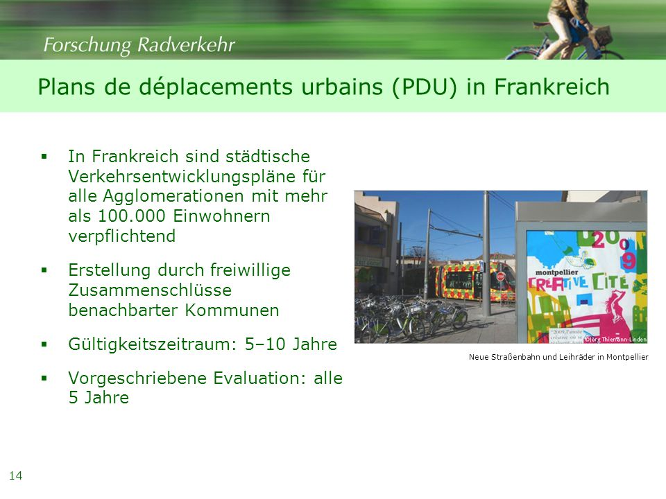 Plans de déplacements urbains (PDU) in Frankreich