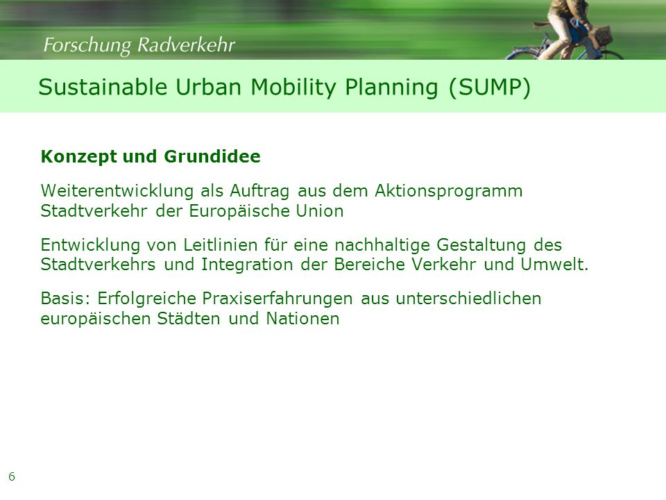 Sustainable Urban Mobility Planning (SUMP)
