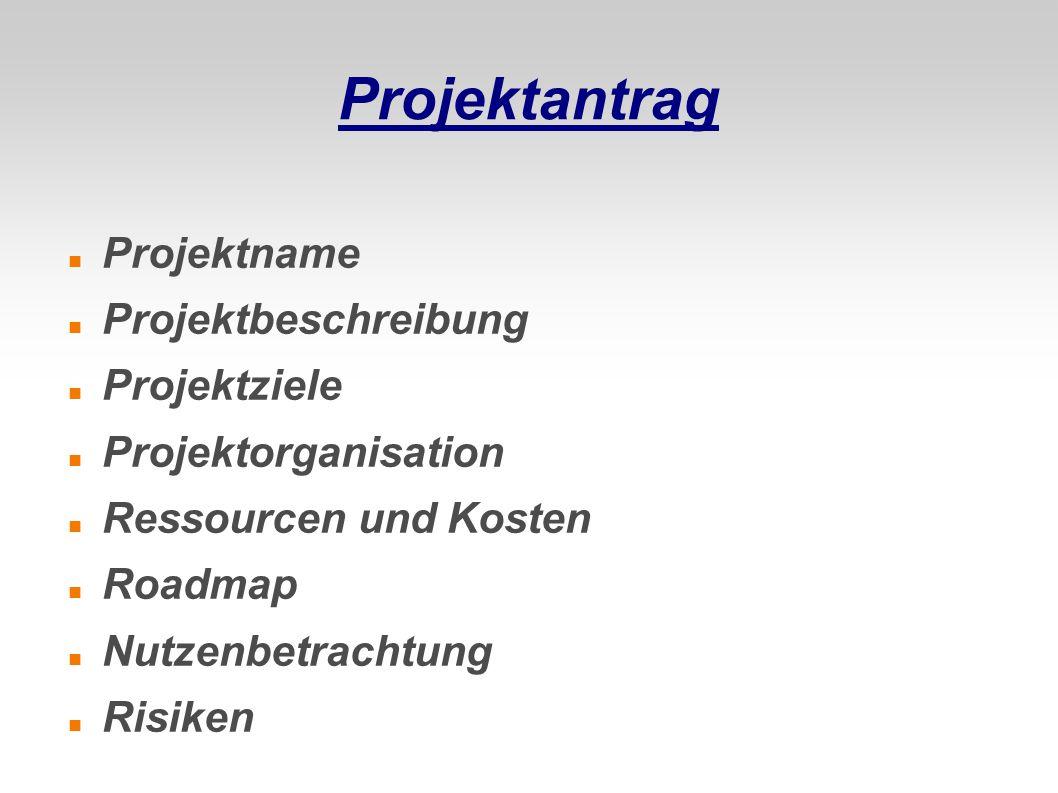 Projektantrag Projektname Projektbeschreibung Projektziele