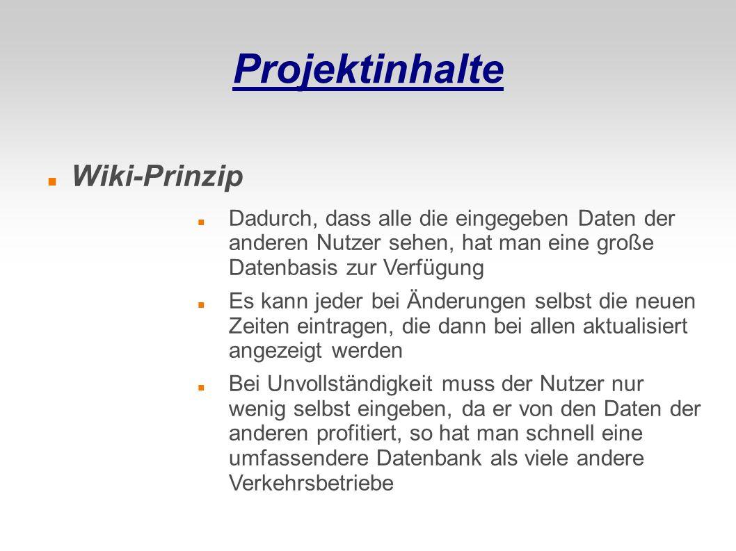 Projektinhalte Wiki-Prinzip
