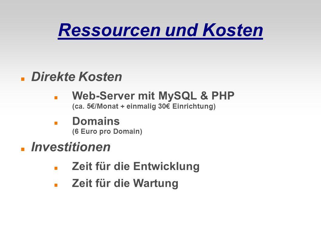 Ressourcen und Kosten Direkte Kosten Investitionen