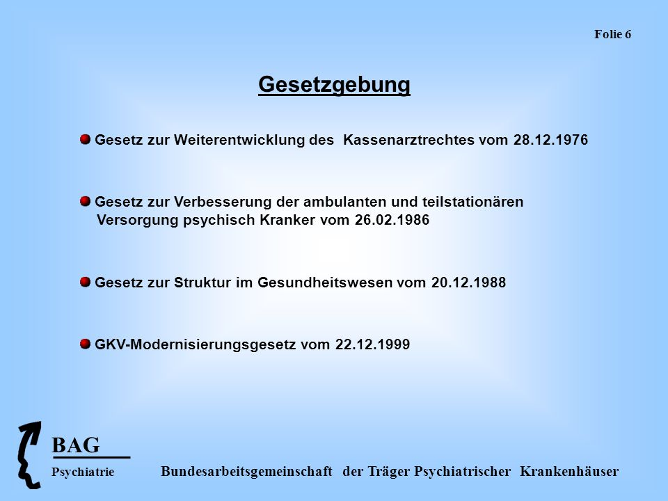Folie 6 Gesetzgebung. Gesetz zur Weiterentwicklung des Kassenarztrechtes vom 28.12.1976.