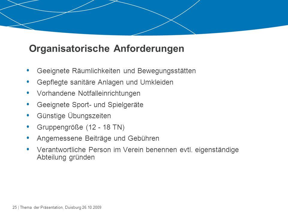 Organisatorische Anforderungen