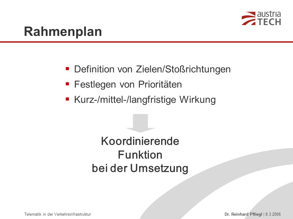 Koordinierende Funktion bei der Umsetzung