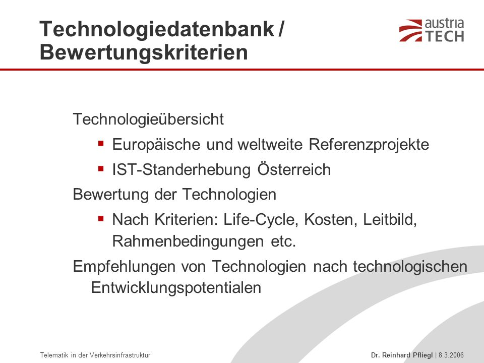 Technologiedatenbank / Bewertungskriterien