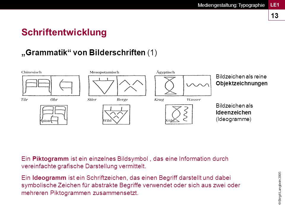"""Schriftentwicklung """"Grammatik von Bilderschriften (1)"""