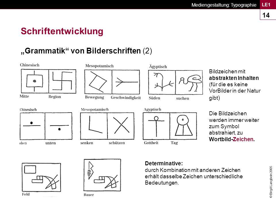 """Schriftentwicklung """"Grammatik von Bilderschriften (2)"""