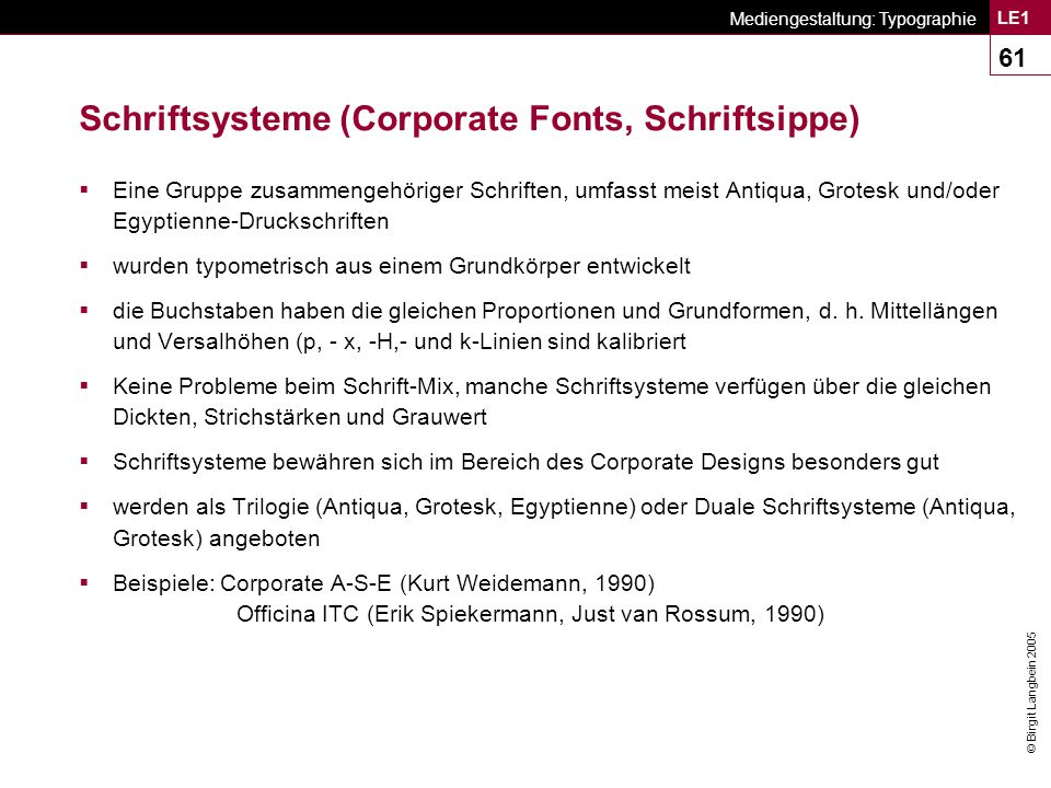 Schriftsysteme (Corporate Fonts, Schriftsippe)