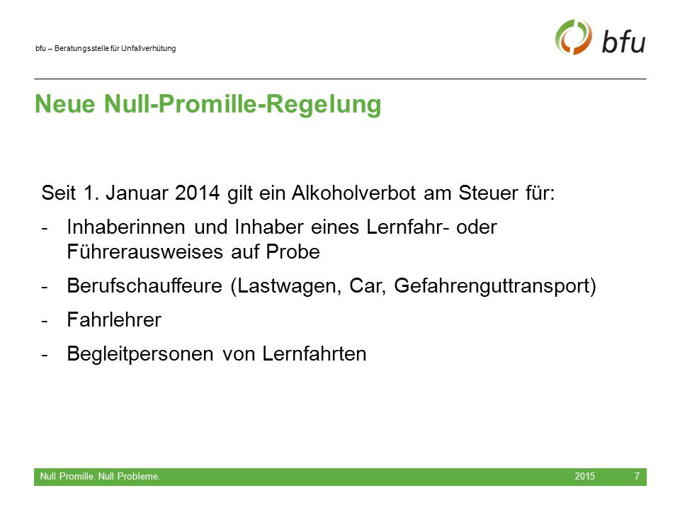 Neue Null-Promille-Regelung