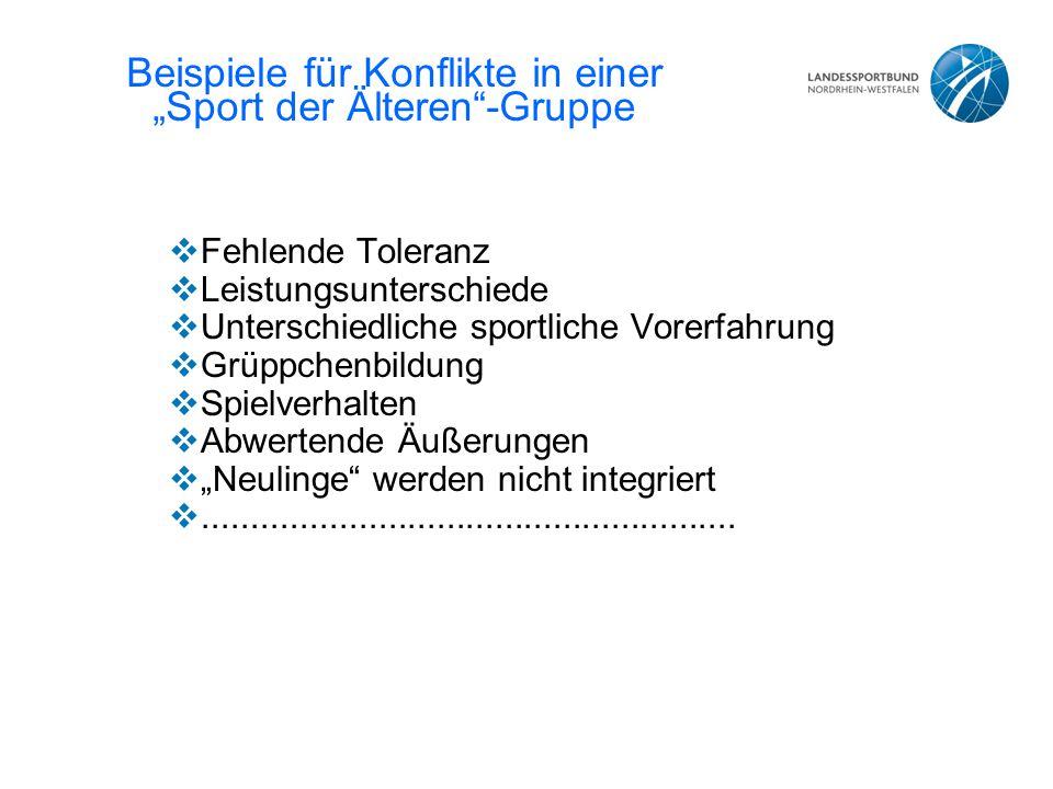 """Beispiele für Konflikte in einer """"Sport der Älteren -Gruppe"""