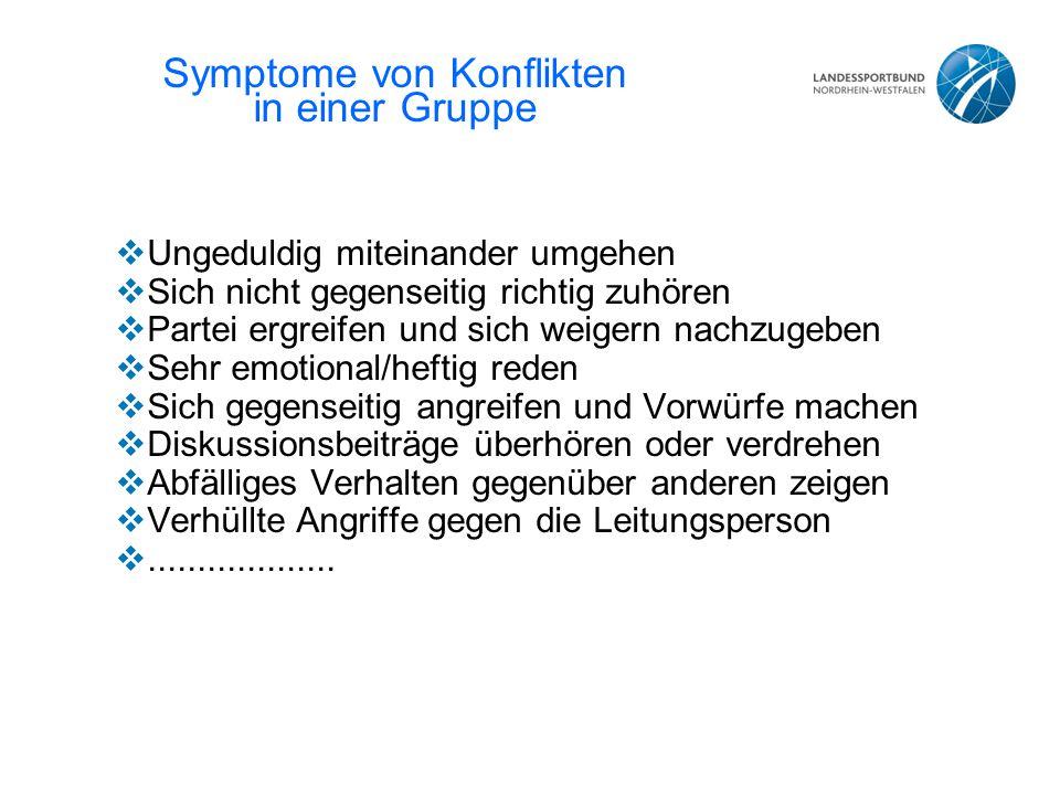 Symptome von Konflikten in einer Gruppe