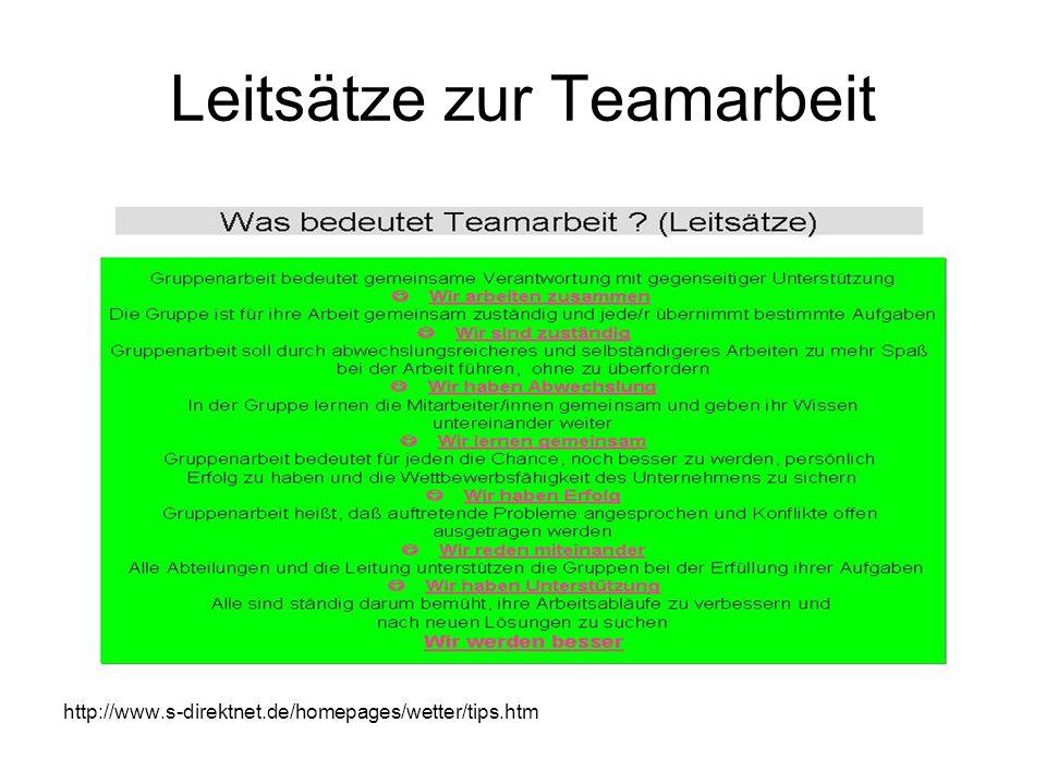Leitsätze zur Teamarbeit