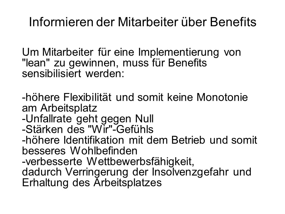 Informieren der Mitarbeiter über Benefits