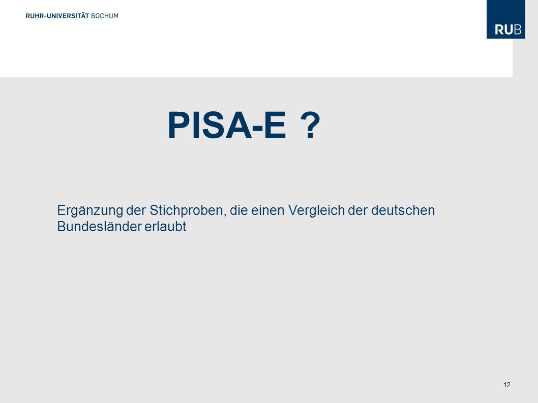 PISA-E Ergänzung der Stichproben, die einen Vergleich der deutschen Bundesländer erlaubt