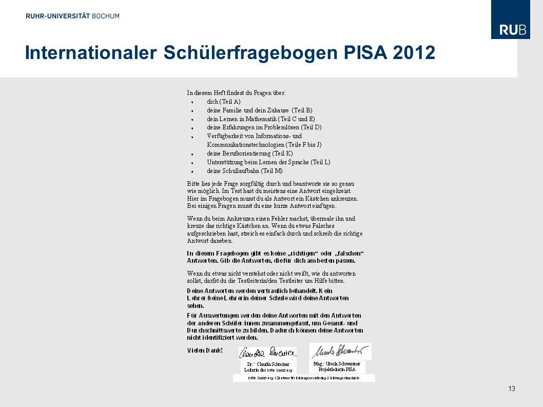 Internationaler Schülerfragebogen PISA 2012