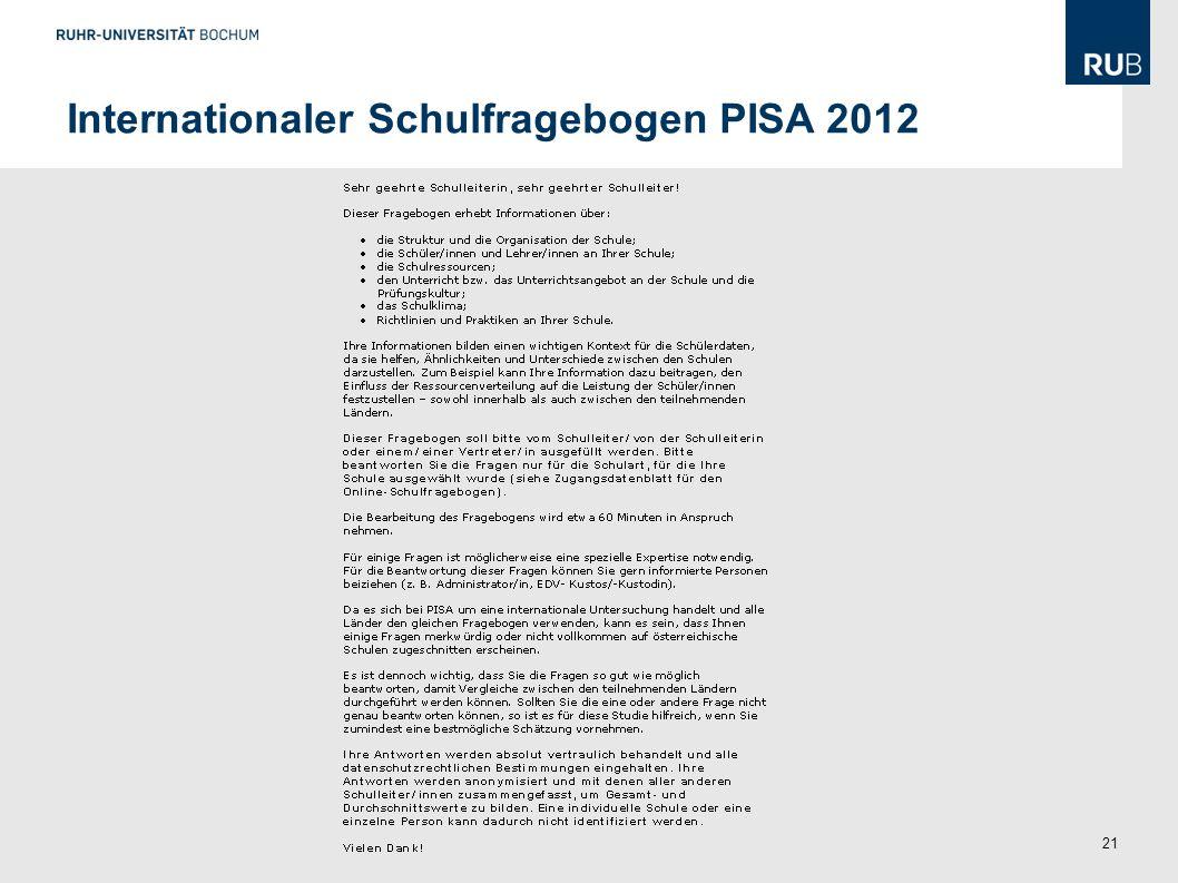 Internationaler Schulfragebogen PISA 2012