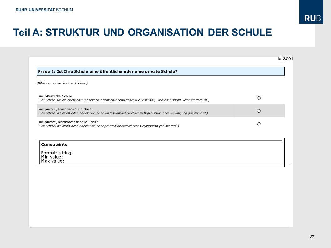 Teil A: STRUKTUR UND ORGANISATION DER SCHULE