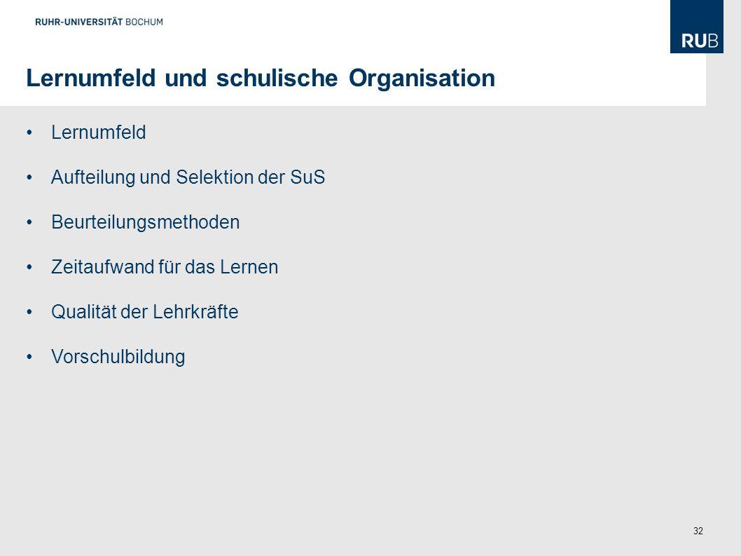 Lernumfeld und schulische Organisation