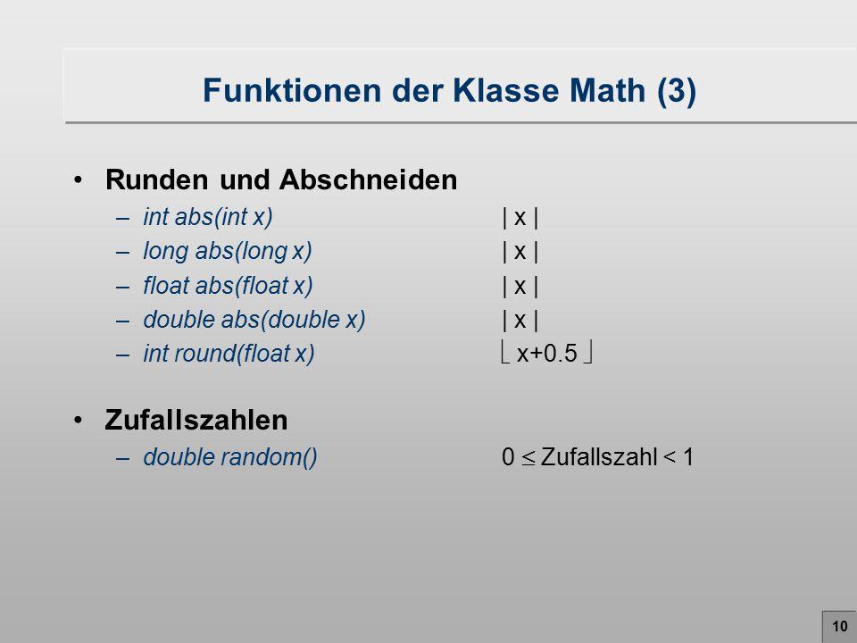 Funktionen der Klasse Math (3)