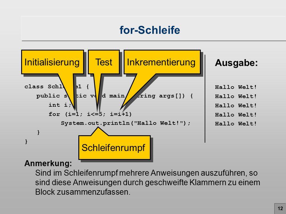 for-Schleife Initialisierung Test Inkrementierung Programm: Ausgabe: