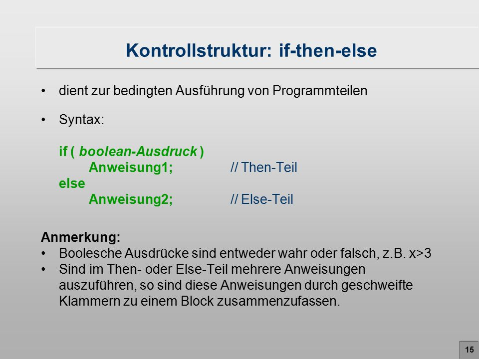 Kontrollstruktur: if-then-else