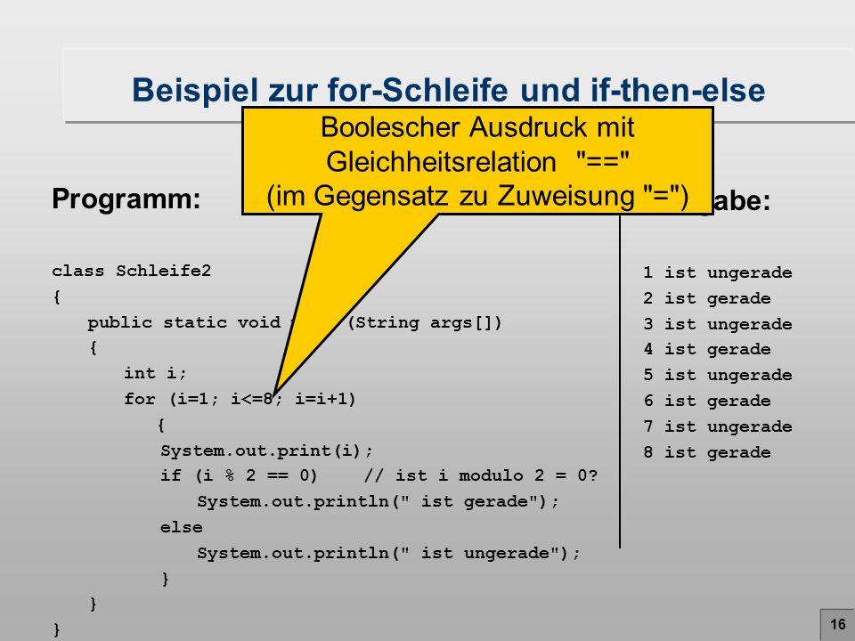 Beispiel zur for-Schleife und if-then-else