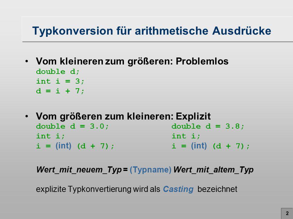 Typkonversion für arithmetische Ausdrücke