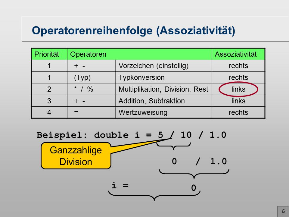 Operatorenreihenfolge (Assoziativität)