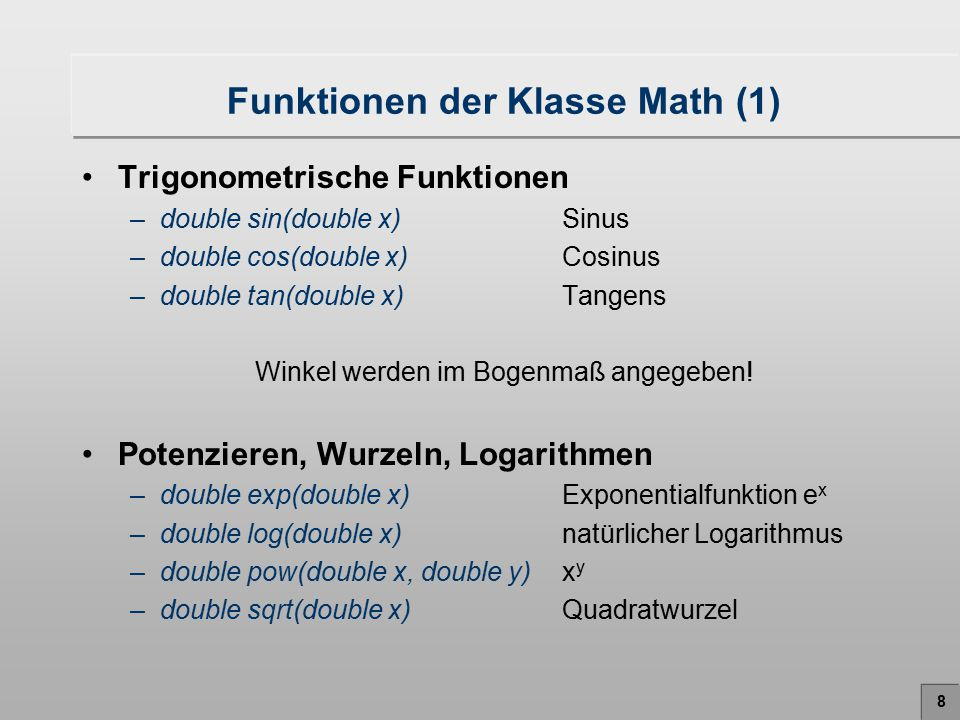 Funktionen der Klasse Math (1)