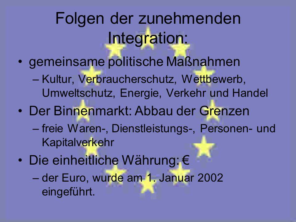 Folgen der zunehmenden Integration: