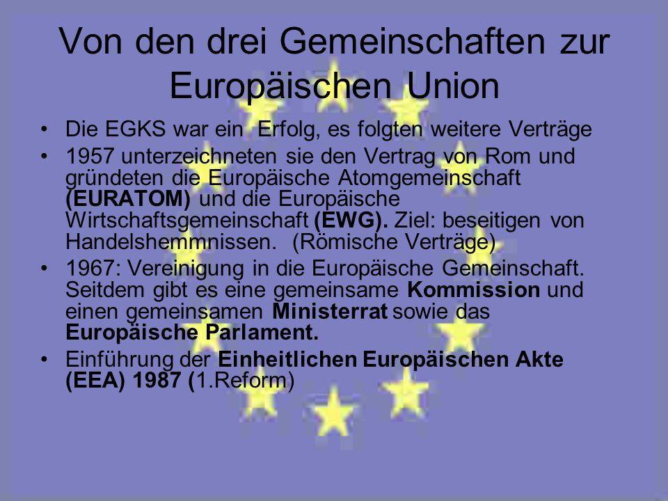 Von den drei Gemeinschaften zur Europäischen Union