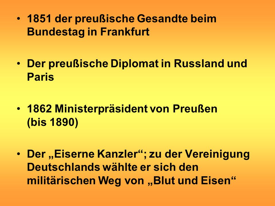 1851 der preußische Gesandte beim Bundestag in Frankfurt